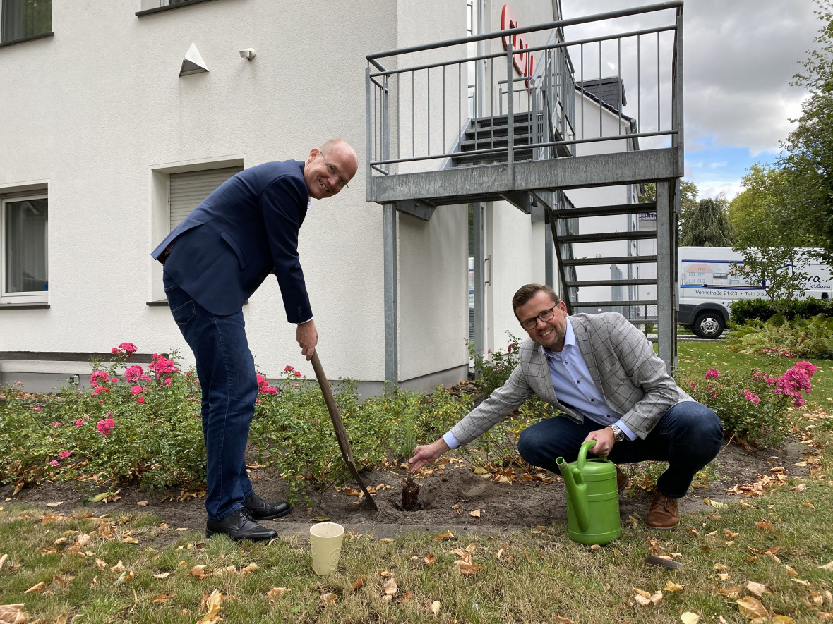 Ralph Brinkhaus (links) und Raphael Tigges pflanzten den Baumsetzling an der Kreisgeschäftsstelle.