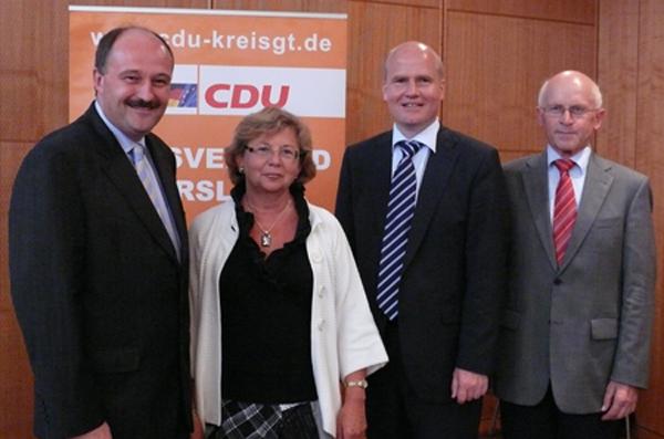 Michael Meister MdB, Ursula Doppmeier MdL, Bundestagskandidat Ralph Brinkhaus und Hubert Deittert MdB