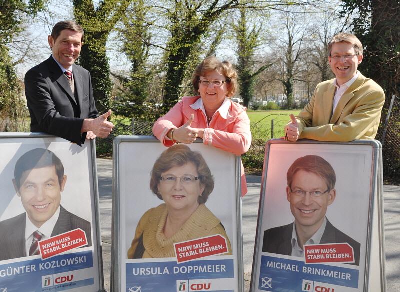 Kämpfen für einen erneuten Wahlerfolg bei der Landtagswahl: Günter Kozlowski, Ursula Doppmeier und Dr. Michael Brinkmeier (v.l.).