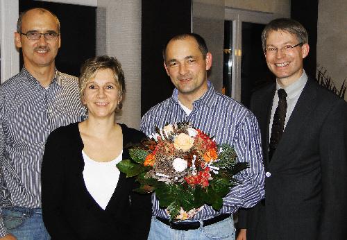 v. links: Langenbergs CDU-Vorsitzender Martin Hammelbeck, Heike und Udo Kranz, Dr. Michael Brinkmeier MdL