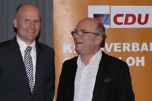 Ralph Brinkhaus und der Vorsitzende des CDU-Stadtverbandes Rheda-Wiedenbrück, Peter Bole