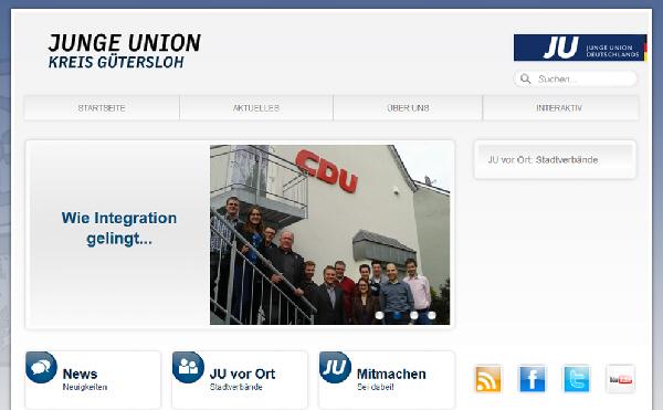Screenshot: Der neue Internetauftritt der Jungen Union auf www.ju-gt.de.