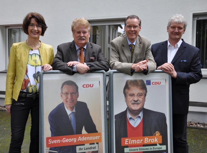 Gehen zuversichtlich in die Wahlen (v.l.): Dr. Christine Disselkamp, Elmar Brok, Sven-Georg Adenauer und Dr. Heinrich Josef Sökeland.