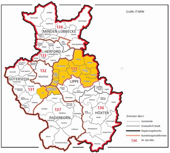 Der umstrittene neue Zuschnitt von Wahlkreis 135 Lippe.