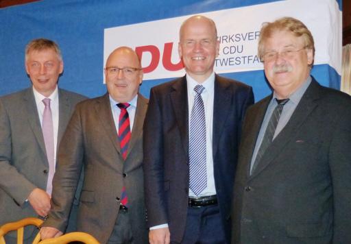 v.l.: Bodo Löttgen, Generalsekretär der CDU NRW,  Steffen Kampeter MdB, Ralph Brinkhaus MdB und Elmar Brok MdEP