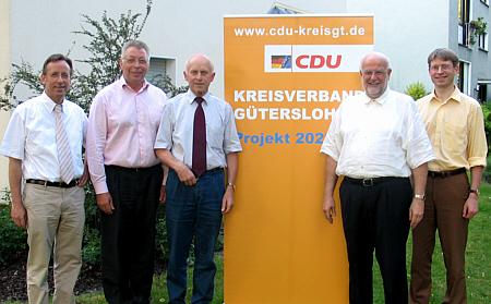 Beleuchteten die Arbeitswelt und Wirtschaftslage im Kreis Gütersloh im Jahr 2020 (v.l.): Dr. Reinhard Göhner MdB, Klaus Brandner MdB, Hubert Deittert MdB, Kreisvorsitzender Ludger Kaup und Dr. Michael Brinkmeier MdL.