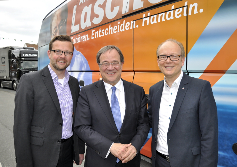Gemeinsamer Appell für den Wahlkampfendspurt (v.l.): Raphael Tigges, Armin Laschet und André Kuper.
