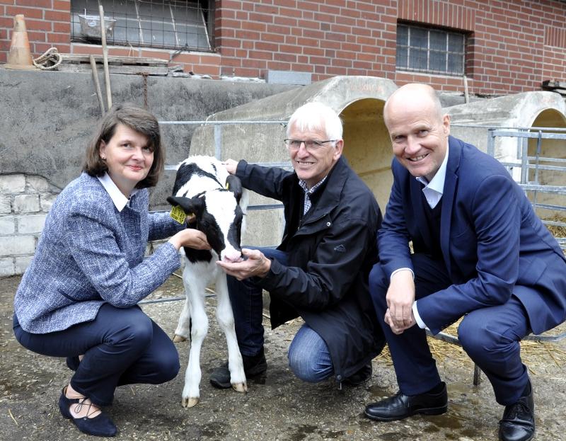 Trafen sich mit Landwirten auf dem Milchviehbetrieb von Wenzel Schwienheer (Mitte) in Rietberg-Varensell: Staatssekretärin Maria Flachsbarth und der heimische Bundestagsabgeordnete und CDU-Kreisvorsitzende Ralph Brinkhaus.